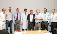 On the image (from left to right): Professor Uwe Zeymer, Dr. Steffen Schneider, Professor Karl Werdan, Dr. Anselm Gitt, Professor Senges, Kurt Beck, Professor Herbert Rebscher, Dr. Andreas Kreimeyer